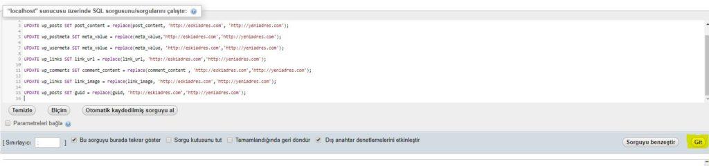 wordpress site url değiştirme